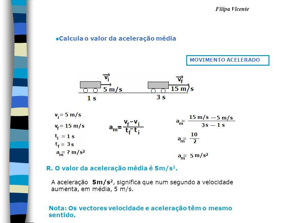 Filipa Vicente n Calcula o valor da aceleração média R. O valor da aceleração média é 5m/s 2. MOVIMENTO ACELERADO A aceleração 5m/s 2, significa que n