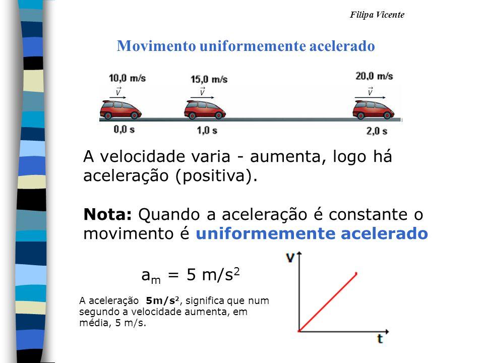 Filipa Vicente Movimento uniformemente acelerado A velocidade varia - aumenta, logo há aceleração (positiva). Nota: Quando a aceleração é constante o
