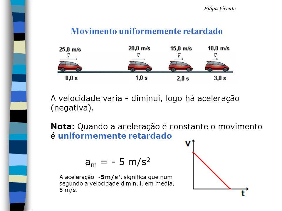 Filipa Vicente Movimento uniformemente retardado A velocidade varia - diminui, logo há aceleração (negativa). Nota: Quando a aceleração é constante o