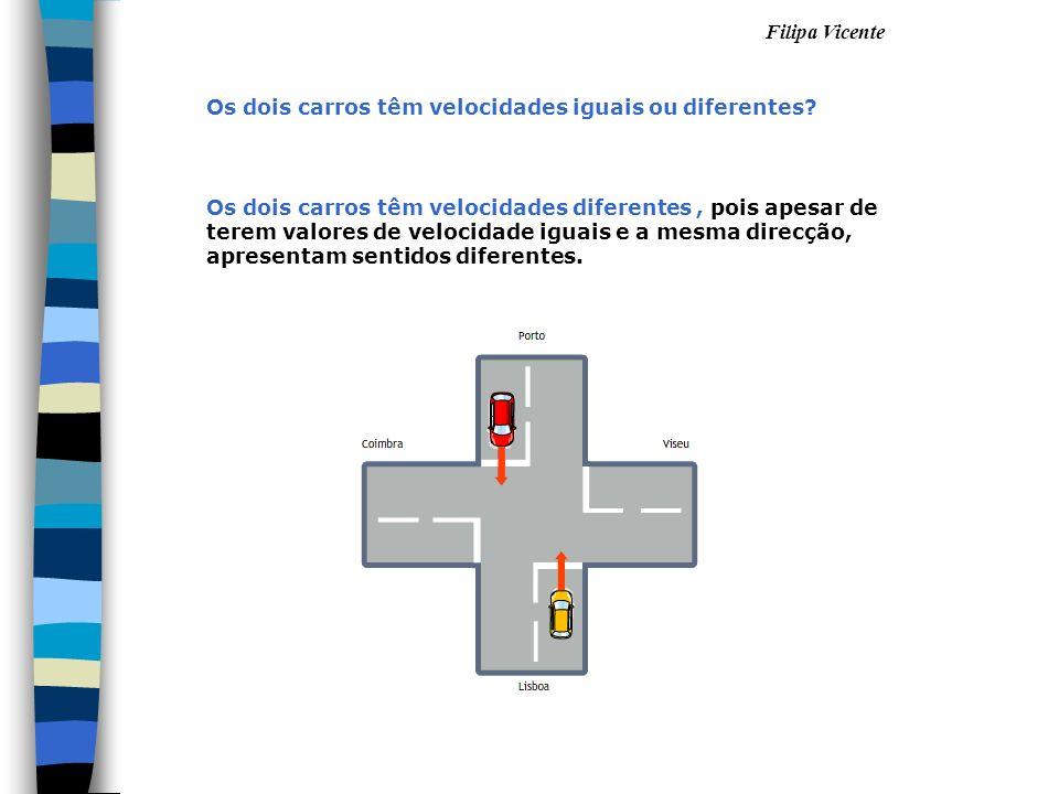 Filipa Vicente Os dois carros têm velocidades diferentes, pois apesar de terem valores de velocidade iguais e a mesma direcção, apresentam sentidos di