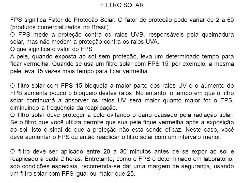 FILTRO SOLAR FPS significa Fator de Proteção Solar.
