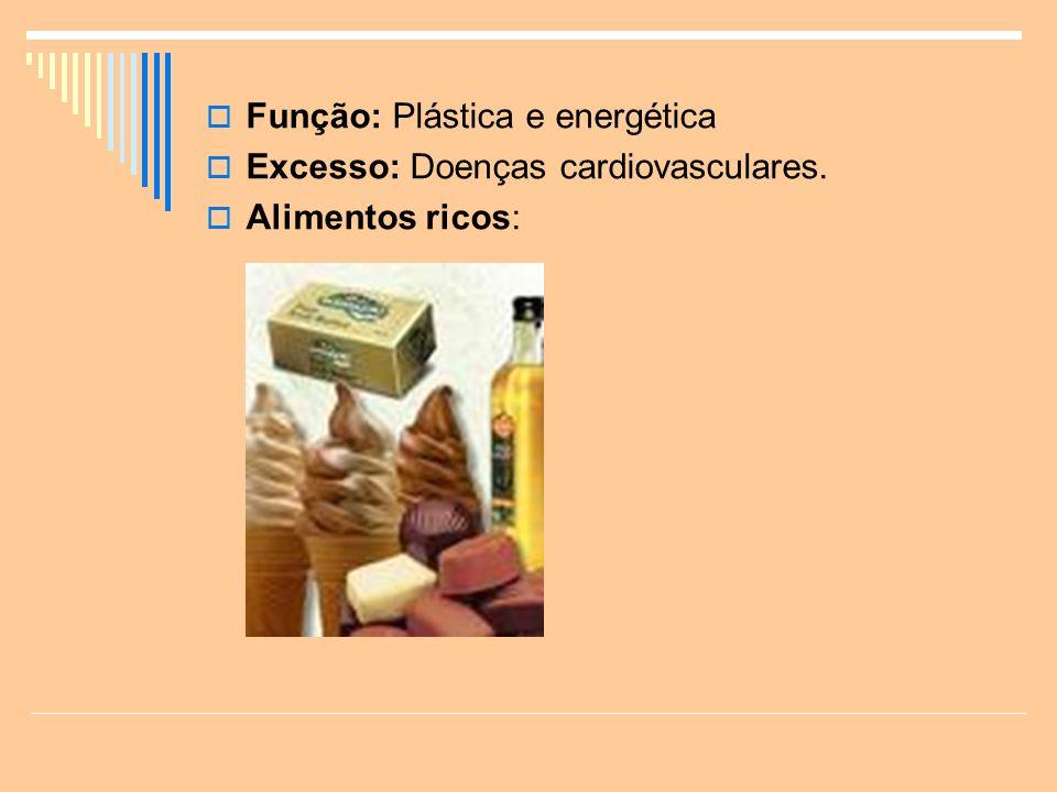 Função: Plástica e energética Excesso: Doenças cardiovasculares. Alimentos ricos: