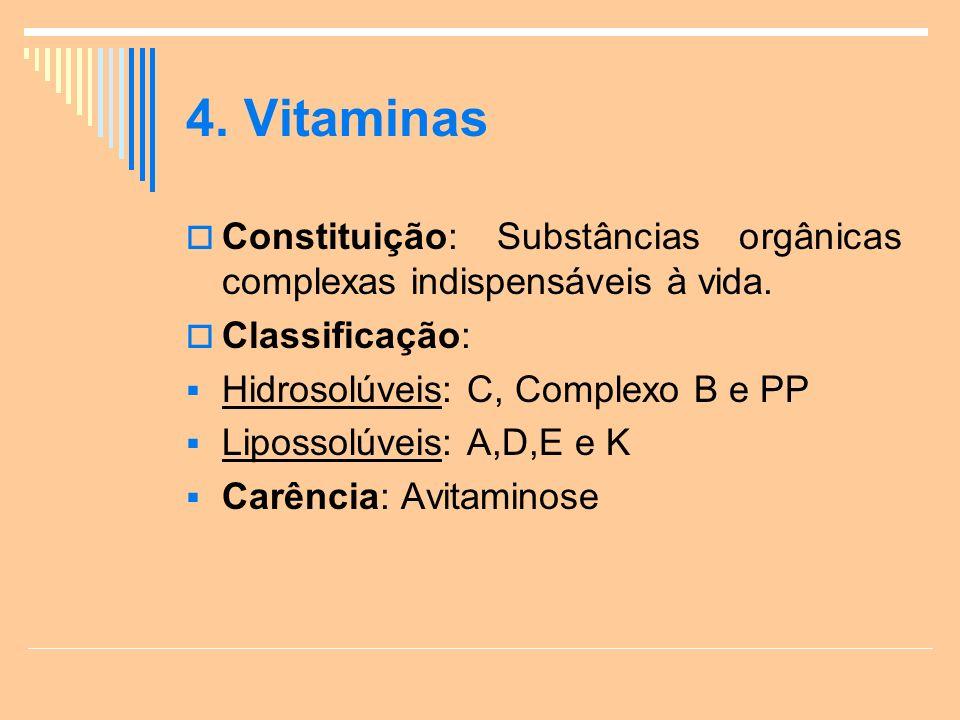 4.Vitaminas Constituição: Substâncias orgânicas complexas indispensáveis à vida.