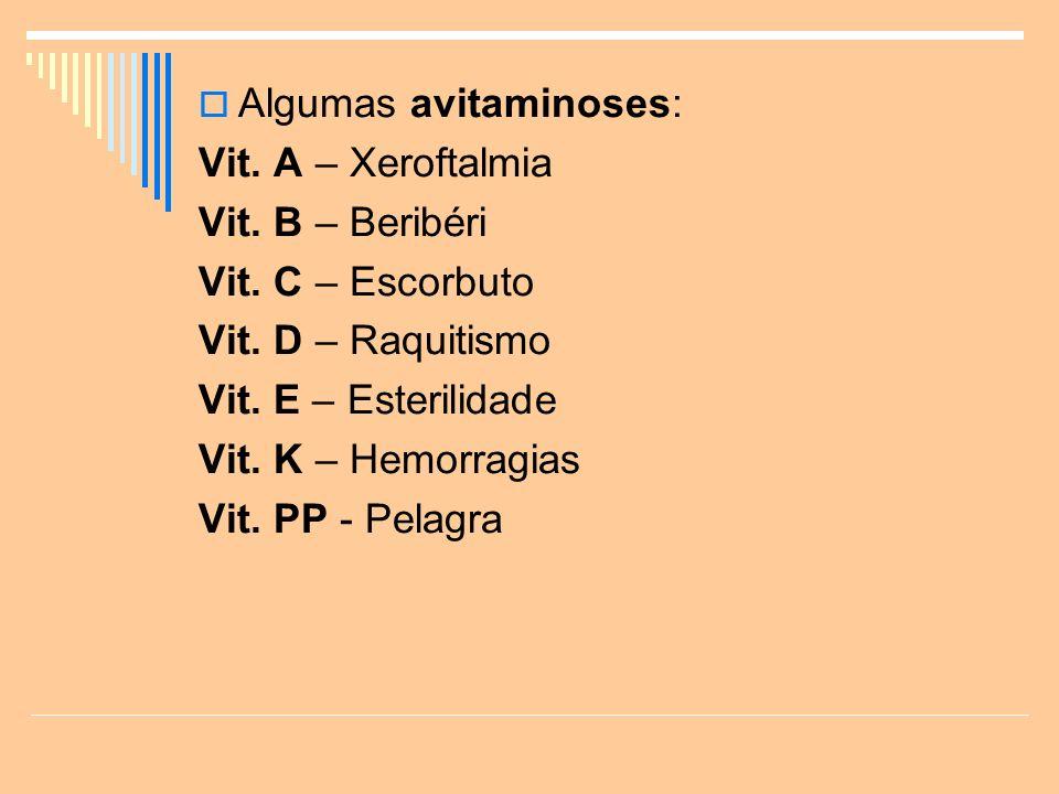 Algumas avitaminoses: Vit.A – Xeroftalmia Vit. B – Beribéri Vit.
