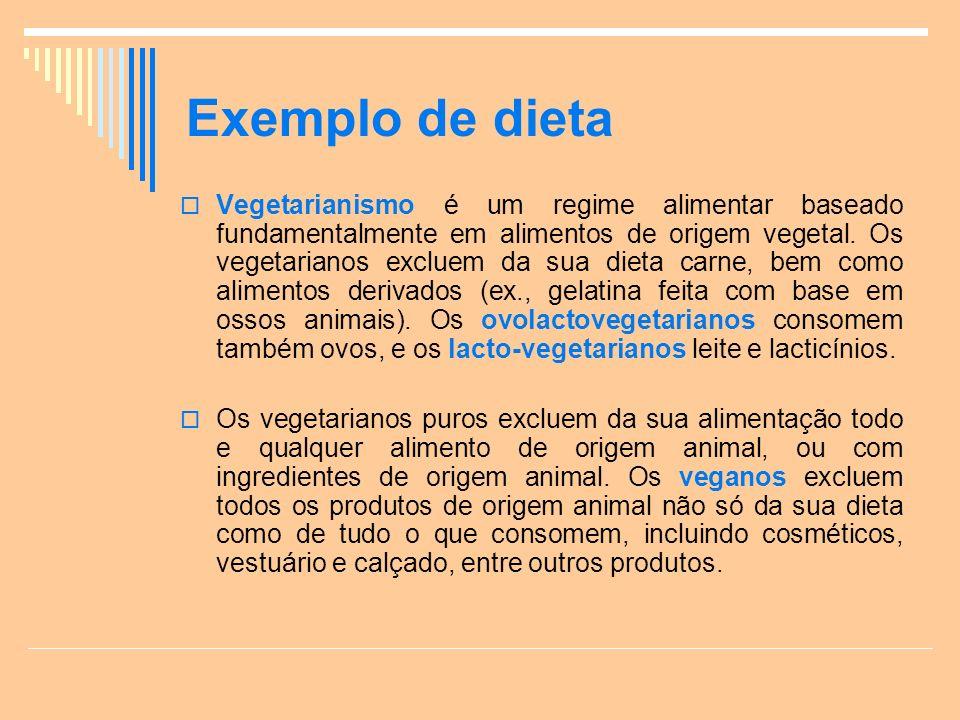 Exemplo de dieta Vegetarianismo é um regime alimentar baseado fundamentalmente em alimentos de origem vegetal.