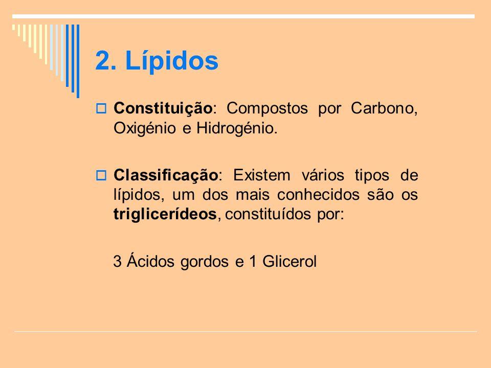 2.Lípidos Constituição: Compostos por Carbono, Oxigénio e Hidrogénio.