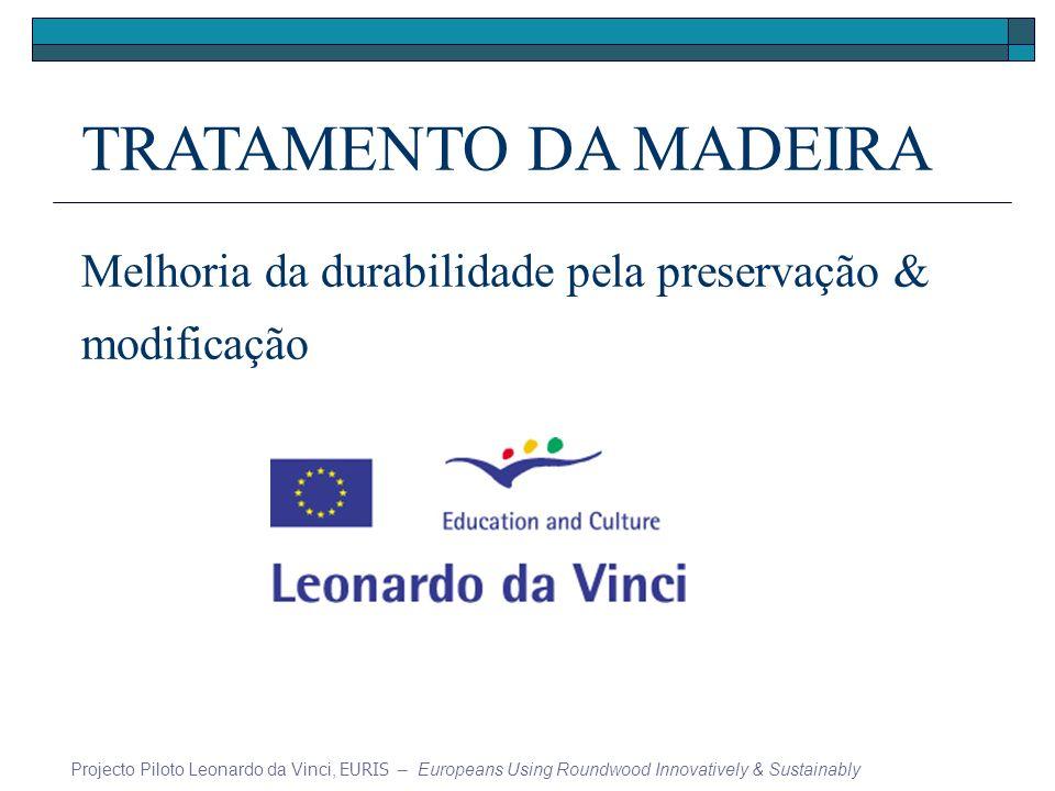TRATAMENTO DA MADEIRA Melhoria da durabilidade pela preservação & modificação Projecto Piloto Leonardo da Vinci, EURIS – Europeans Using Roundwood Innovatively & Sustainably