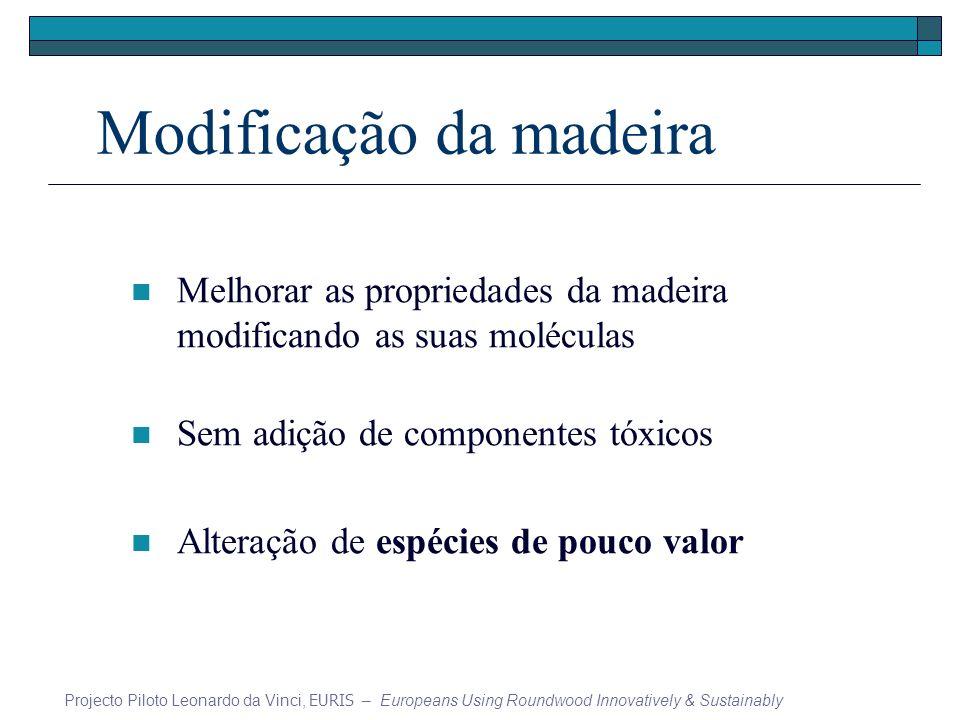 Modificação da madeira Melhorar as propriedades da madeira modificando as suas moléculas Sem adição de componentes tóxicos Alteração de espécies de po