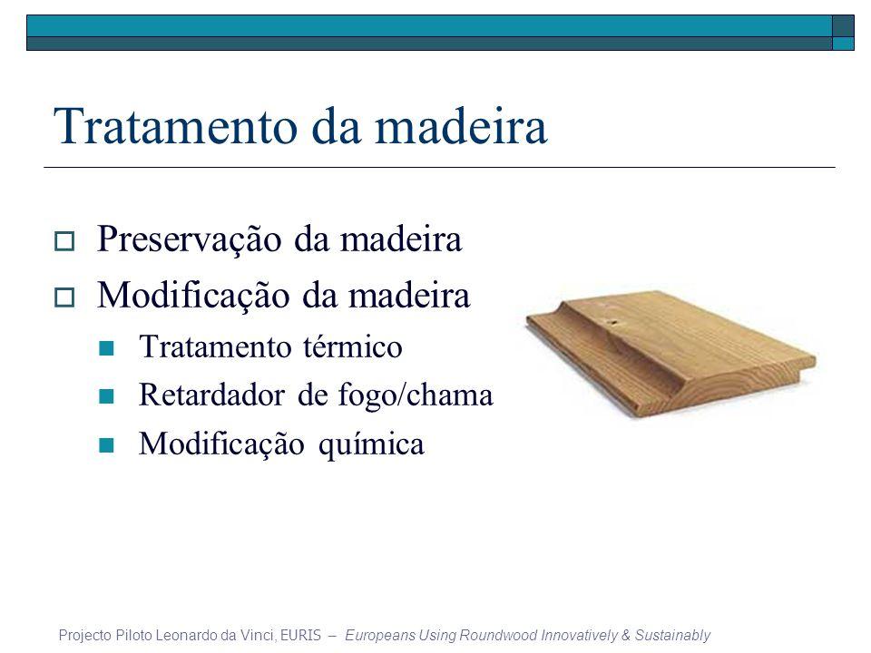 Tratamento da madeira Preservação da madeira Modificação da madeira Tratamento térmico Retardador de fogo/chama Modificação química Projecto Piloto Leonardo da Vinci, EURIS – Europeans Using Roundwood Innovatively & Sustainably