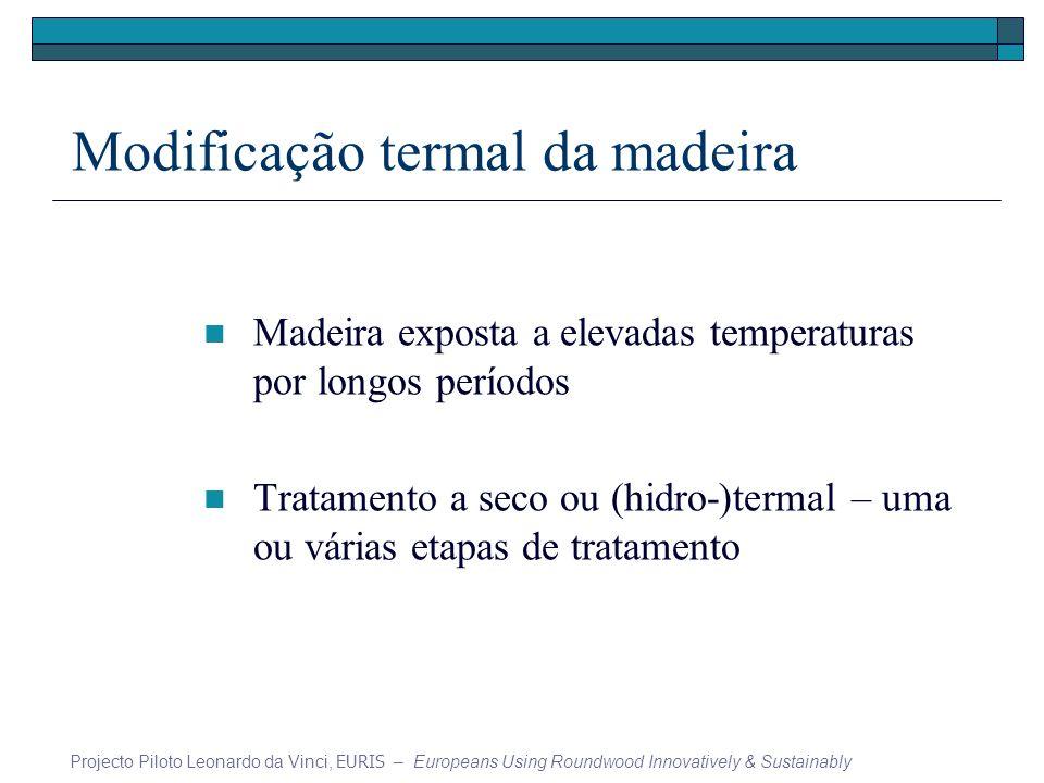 Modificação termal da madeira Madeira exposta a elevadas temperaturas por longos períodos Tratamento a seco ou (hidro-)termal – uma ou várias etapas de tratamento Projecto Piloto Leonardo da Vinci, EURIS – Europeans Using Roundwood Innovatively & Sustainably