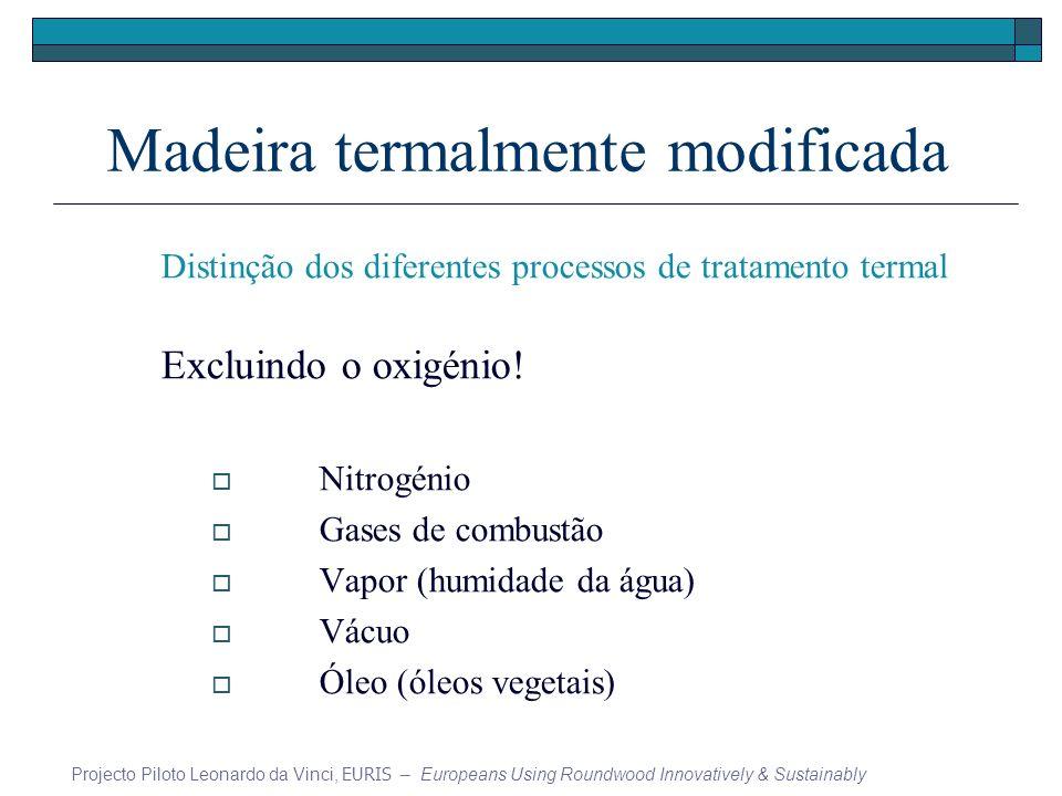 Madeira termalmente modificada Distinção dos diferentes processos de tratamento termal Excluindo o oxigénio! Nitrogénio Gases de combustão Vapor (humi