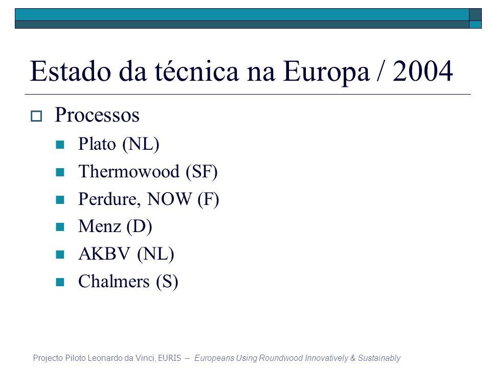 Estado da técnica na Europa / 2004 Processos Plato (NL) Thermowood (SF) Perdure, NOW (F) Menz (D) AKBV (NL) Chalmers (S) Projecto Piloto Leonardo da V