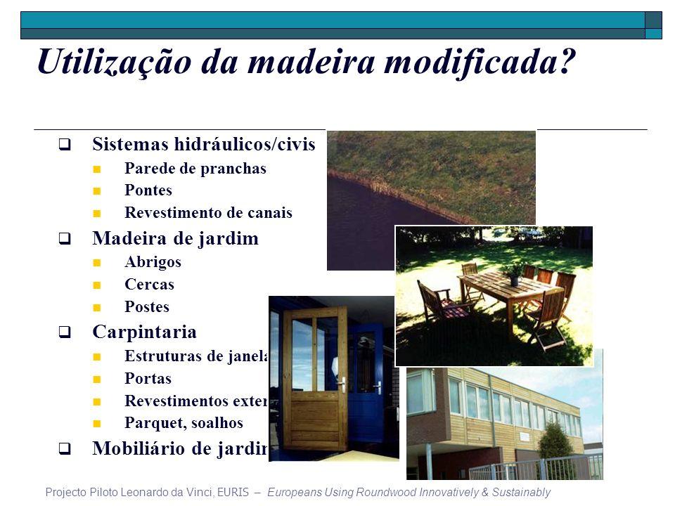 Utilização da madeira modificada? Sistemas hidráulicos/civis Parede de pranchas Pontes Revestimento de canais Madeira de jardim Abrigos Cercas Postes