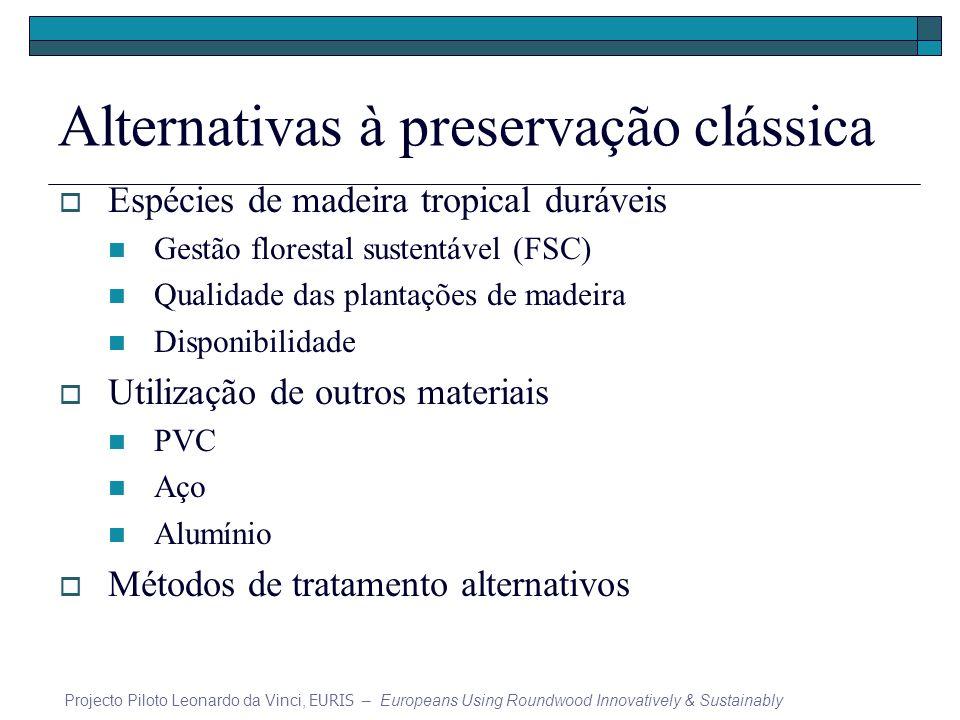 Alternativas à preservação clássica Espécies de madeira tropical duráveis Gestão florestal sustentável (FSC) Qualidade das plantações de madeira Dispo