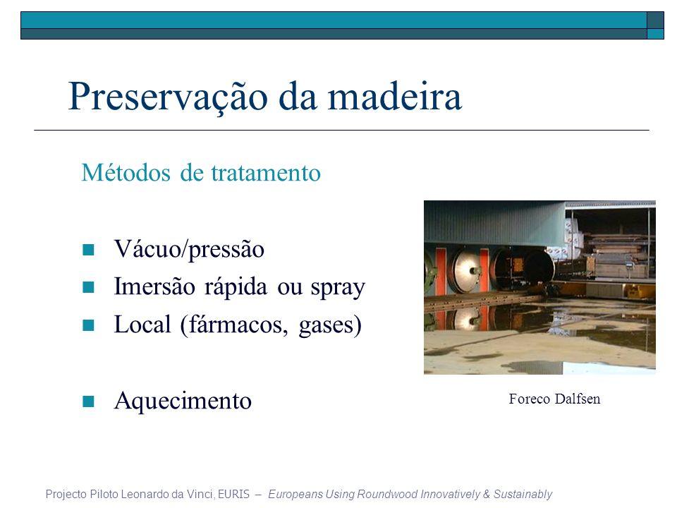 Preservação da madeira Métodos de tratamento Vácuo/pressão Imersão rápida ou spray Local (fármacos, gases) Aquecimento Projecto Piloto Leonardo da Vin