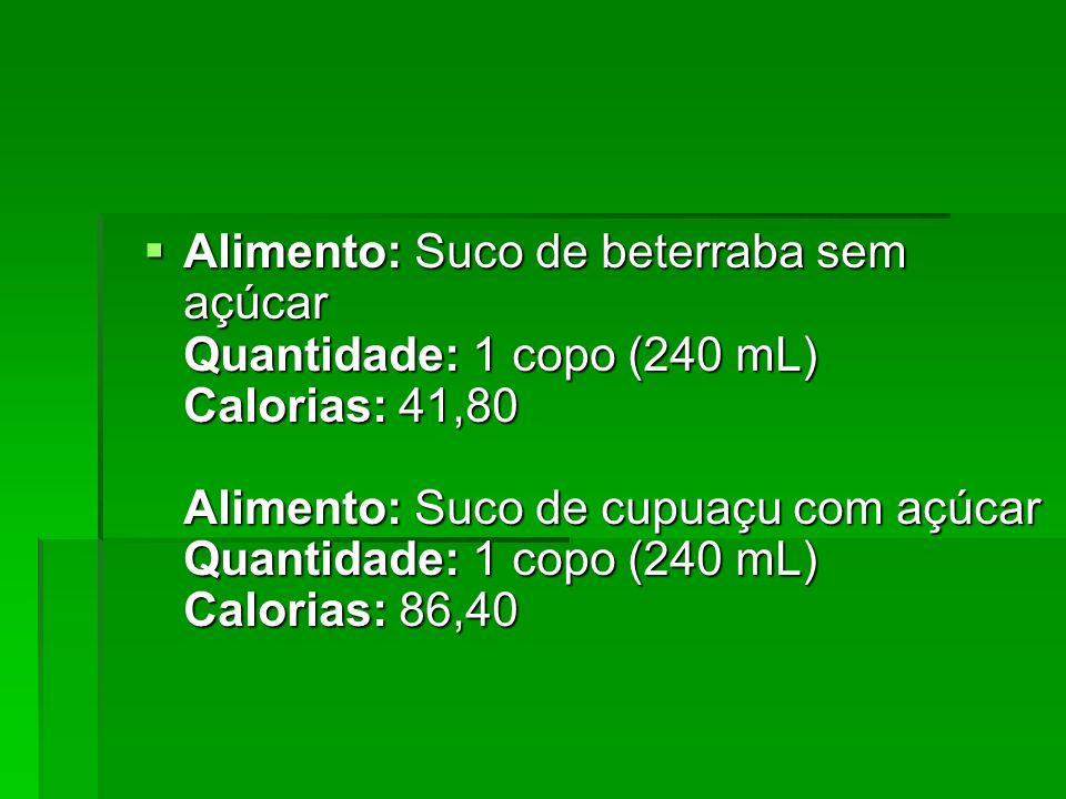 Alimento: Suco de beterraba sem açúcar Quantidade: 1 copo (240 mL) Calorias: 41,80 Alimento: Suco de cupuaçu com açúcar Quantidade: 1 copo (240 mL) Ca