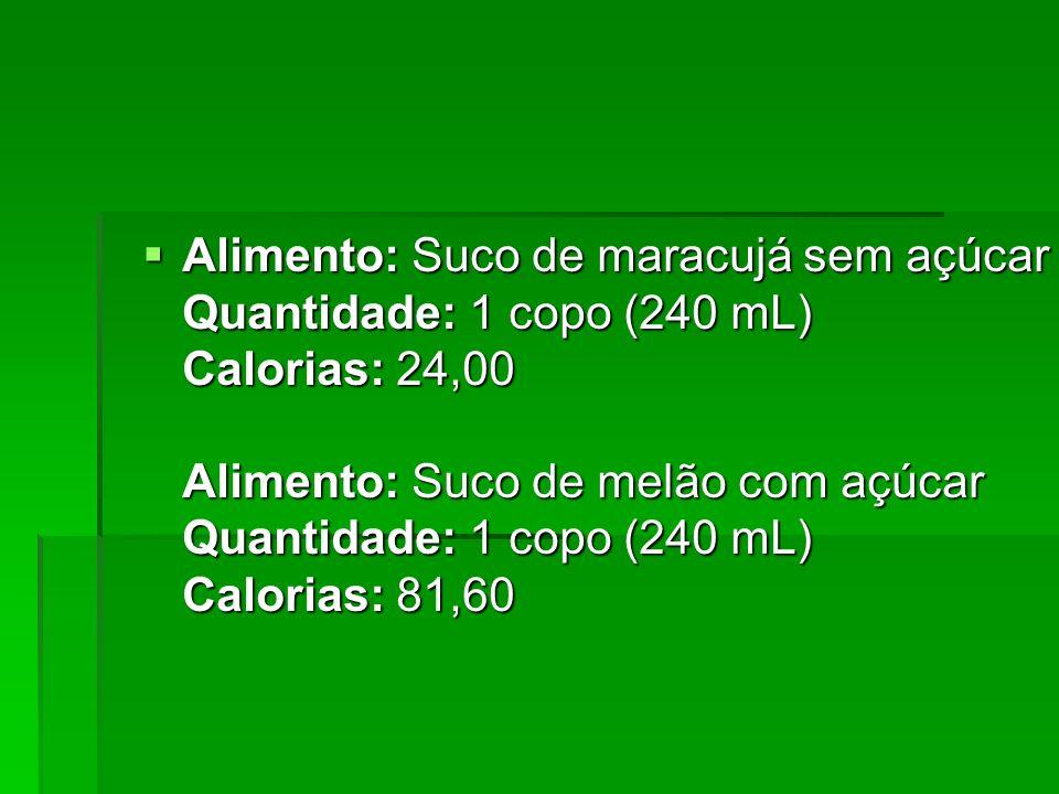 Alimento: Suco de maracujá sem açúcar Quantidade: 1 copo (240 mL) Calorias: 24,00 Alimento: Suco de melão com açúcar Quantidade: 1 copo (240 mL) Calor
