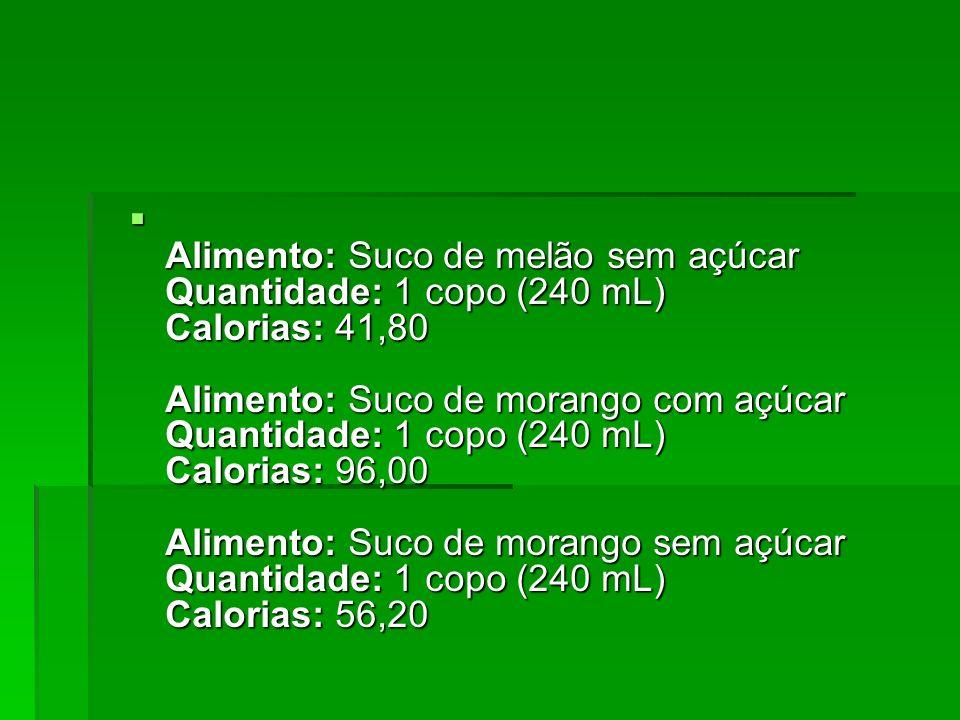 Alimento: Suco de melão sem açúcar Quantidade: 1 copo (240 mL) Calorias: 41,80 Alimento: Suco de morango com açúcar Quantidade: 1 copo (240 mL) Calori
