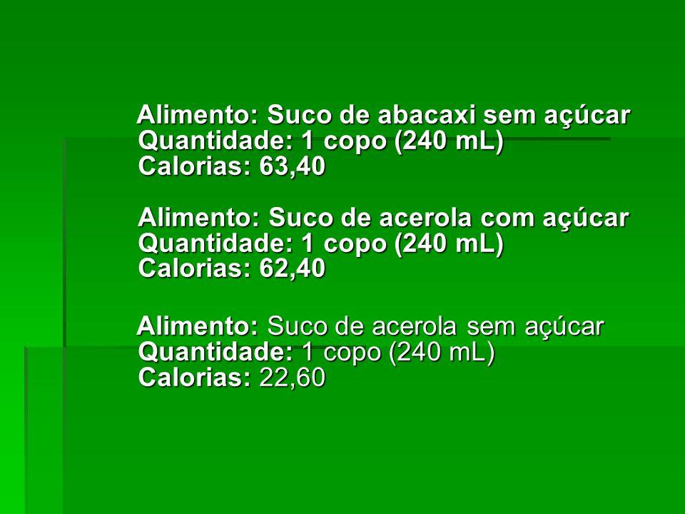 Alimento: Suco de maracujá sem açúcar Quantidade: 1 copo (240 mL) Calorias: 24,00 Alimento: Suco de melão com açúcar Quantidade: 1 copo (240 mL) Calorias: 81,60 Alimento: Suco de maracujá sem açúcar Quantidade: 1 copo (240 mL) Calorias: 24,00 Alimento: Suco de melão com açúcar Quantidade: 1 copo (240 mL) Calorias: 81,60