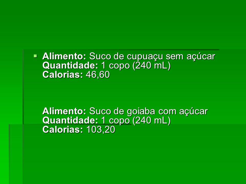 Alimento: Suco de cupuaçu sem açúcar Quantidade: 1 copo (240 mL) Calorias: 46,60 Alimento: Suco de goiaba com açúcar Quantidade: 1 copo (240 mL) Calor