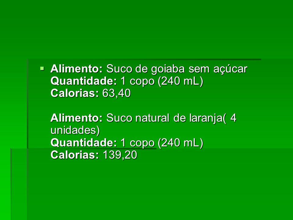 Alimento: Suco de goiaba sem açúcar Quantidade: 1 copo (240 mL) Calorias: 63,40 Alimento: Suco natural de laranja( 4 unidades) Quantidade: 1 copo (240