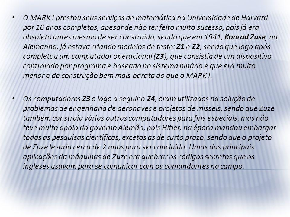 O MARK I prestou seus serviços de matemática na Universidade de Harvard por 16 anos completos, apesar de não ter feito muito sucesso, pois já era obso