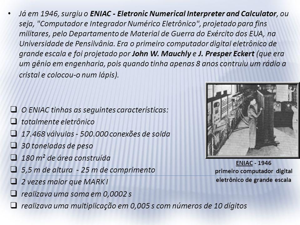 Já em 1946, surgiu o ENIAC - Eletronic Numerical Interpreter and Calculator, ou seja,