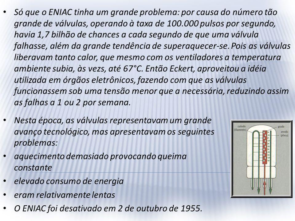 Só que o ENIAC tinha um grande problema: por causa do número tão grande de válvulas, operando à taxa de 100.000 pulsos por segundo, havia 1,7 bilhão d