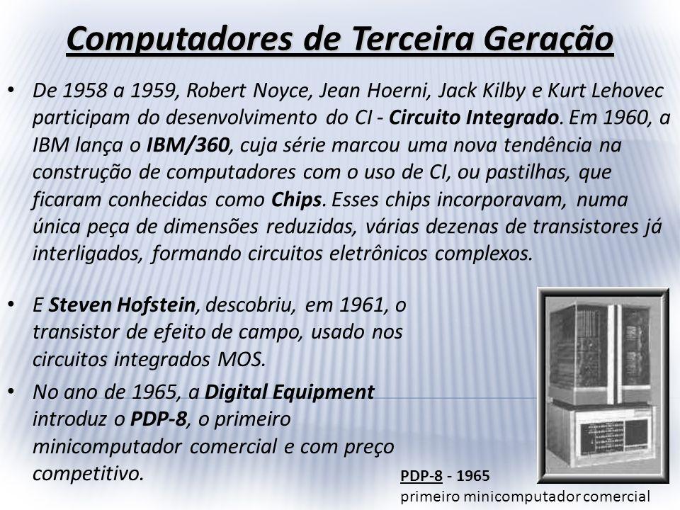 Computadores de Terceira Geração De 1958 a 1959, Robert Noyce, Jean Hoerni, Jack Kilby e Kurt Lehovec participam do desenvolvimento do CI - Circuito I
