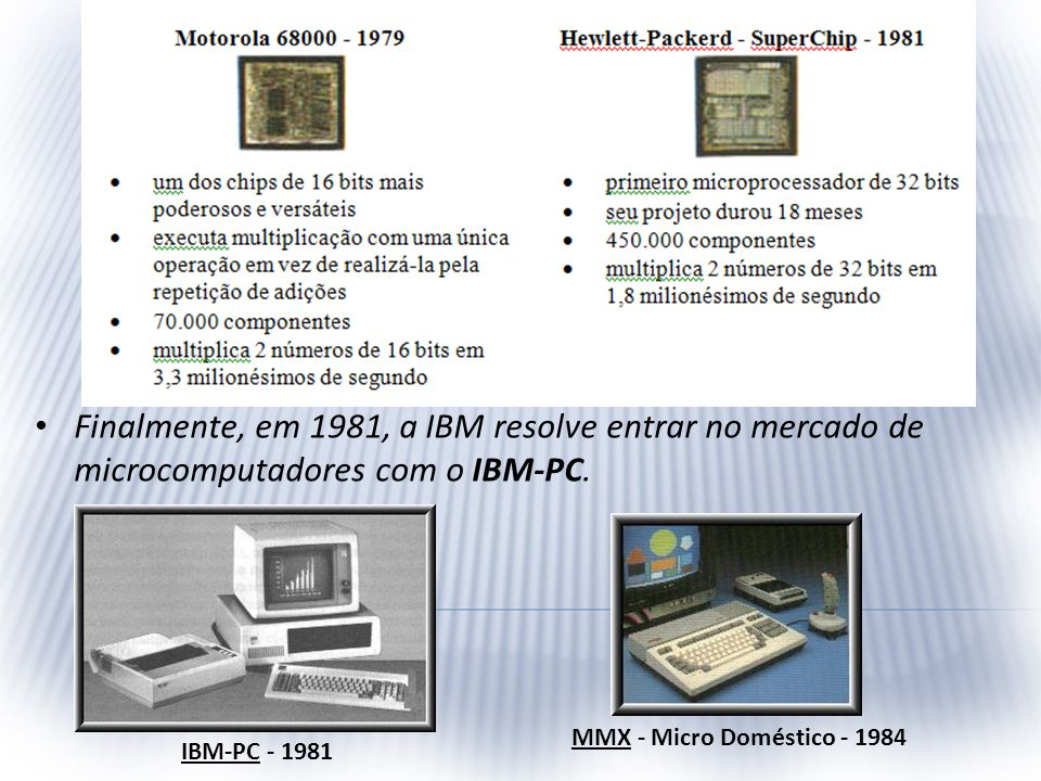 Finalmente, em 1981, a IBM resolve entrar no mercado de microcomputadores com o IBM-PC. IBM-PC - 1981 MMX - Micro Doméstico - 1984