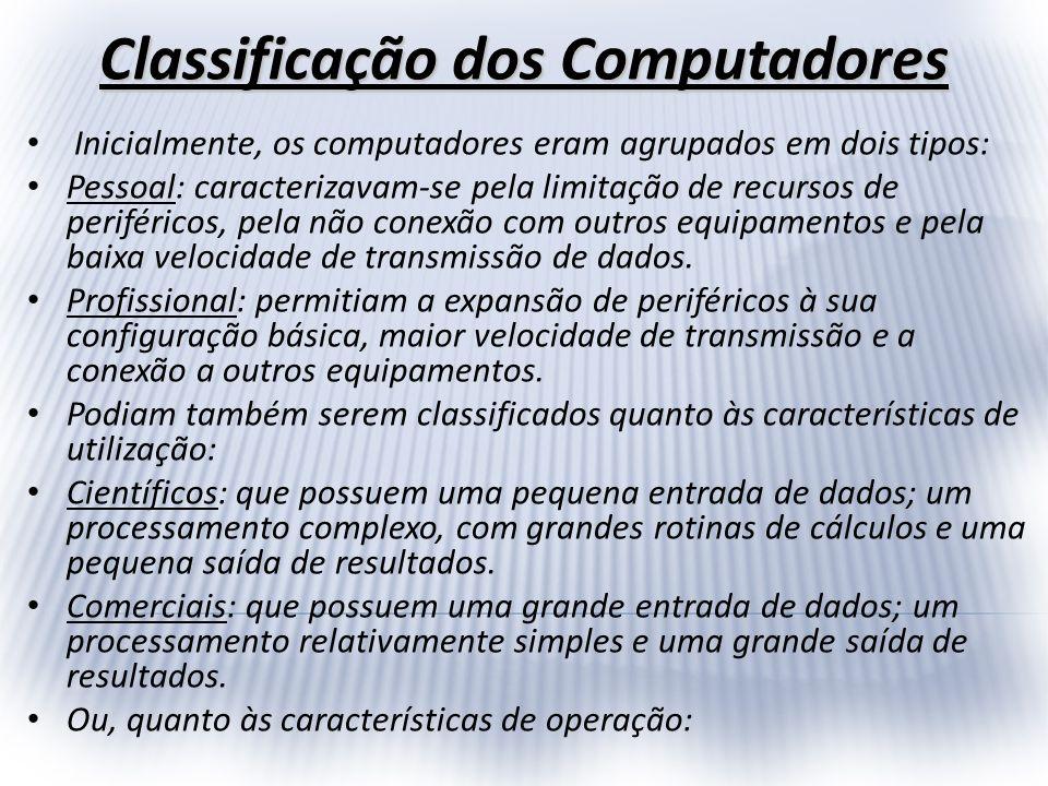 Inicialmente, os computadores eram agrupados em dois tipos: Pessoal: caracterizavam-se pela limitação de recursos de periféricos, pela não conexão com