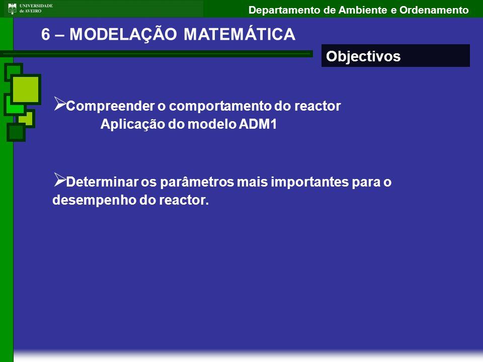Departamento de Ambiente e Ordenamento 6 – MODELAÇÃO MATEMÁTICA Objectivos Compreender o comportamento do reactor Aplicação do modelo ADM1 Determinar