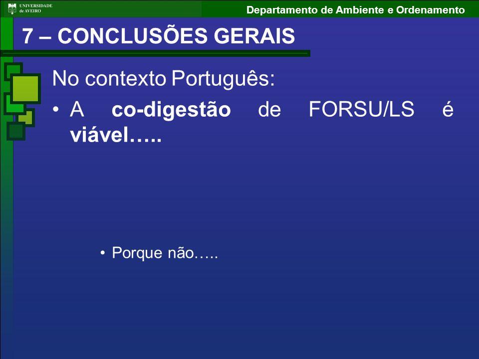 Departamento de Ambiente e Ordenamento 7 – CONCLUSÕES GERAIS No contexto Português: A co-digestão de FORSU/LS é viável….. Porque não…..