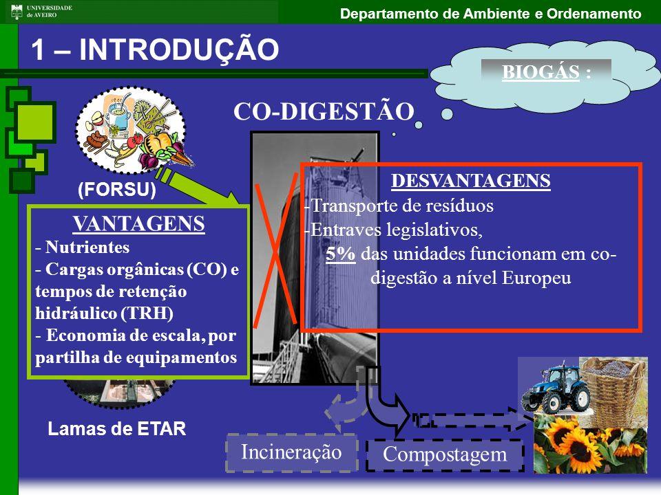 Departamento de Ambiente e Ordenamento CO-DIGESTÃO 1 – INTRODUÇÃO (FORSU) Fracção Orgânica dos Resíduos Sólidos Urbanos Lamas de ETAR BIOGÁS : VANTAGE