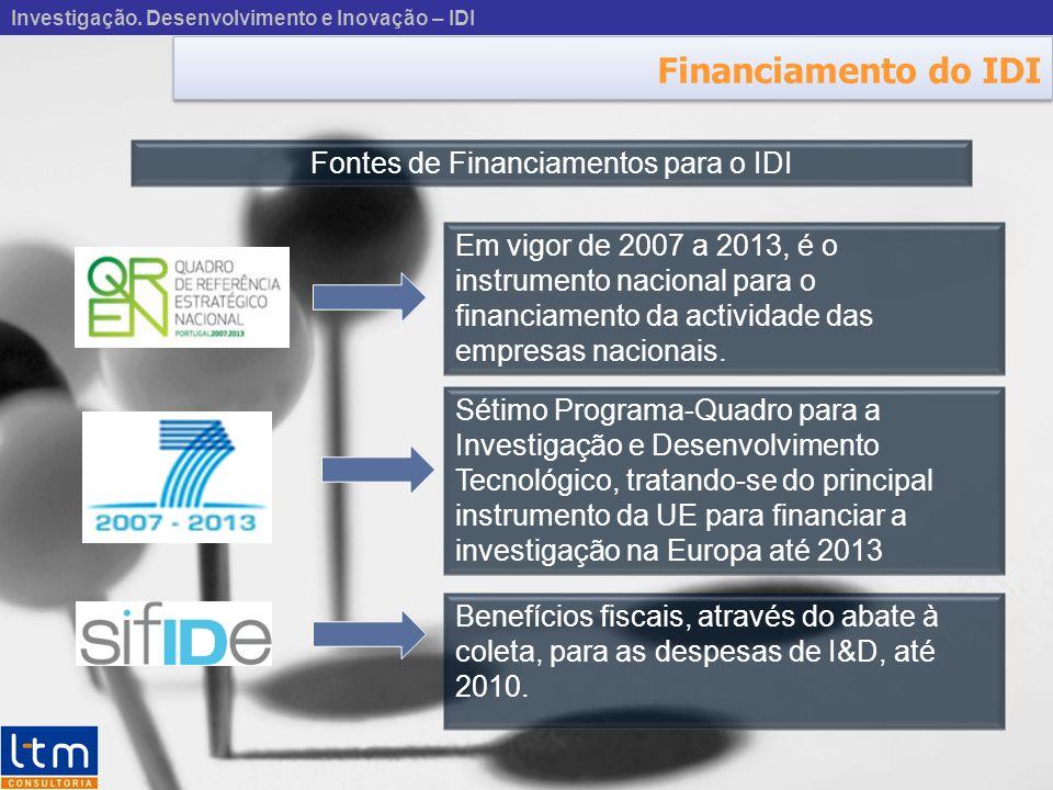 Financiamento do IDI Fontes de Financiamentos para o IDI Em vigor de 2007 a 2013, é o instrumento nacional para o financiamento da actividade das empresas nacionais.