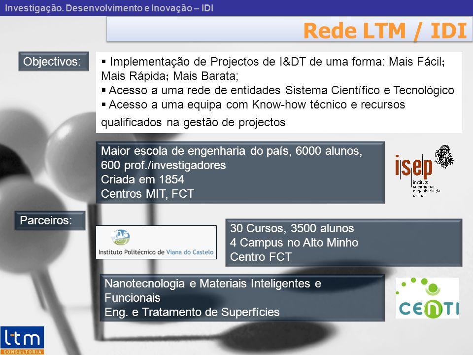 Investigação. Desenvolvimento e Inovação – IDI Rede LTM / IDI Maior escola de engenharia do país, 6000 alunos, 600 prof./investigadores Criada em 1854