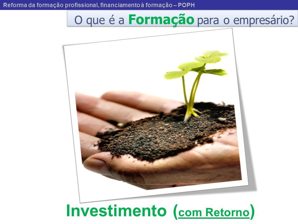 O que é a Formação para o empresário? Investimento ( com Retorno ) Reforma da formação profissional, financiamento à formação – POPH