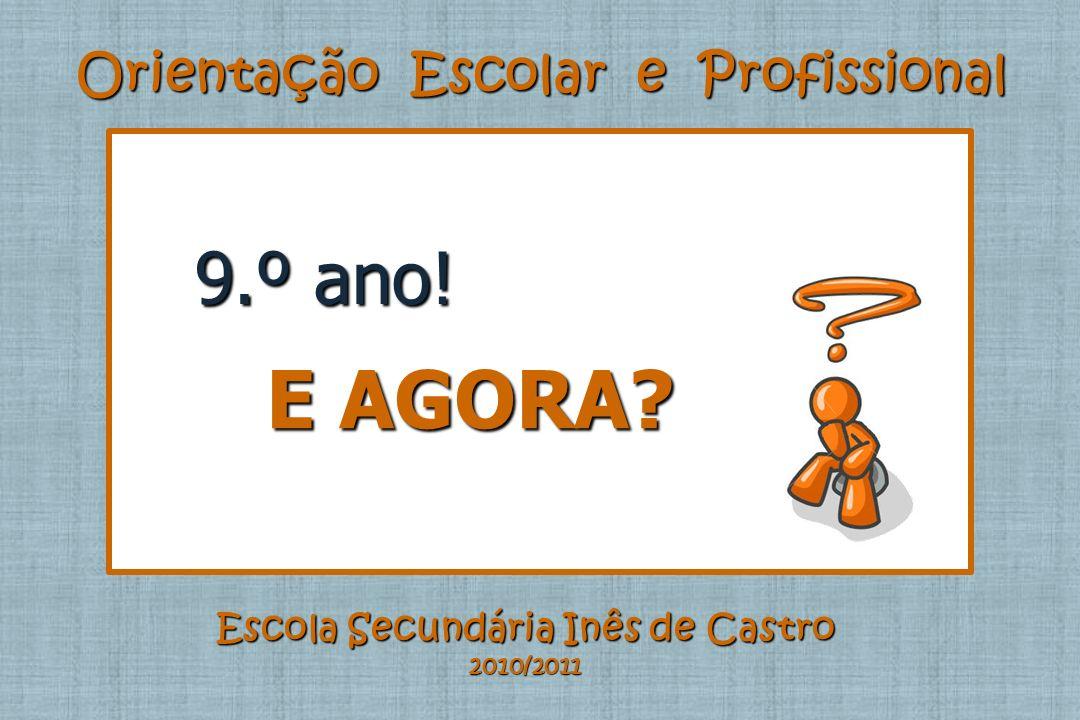 Orientação Escolar e Profissional Escola Secundária Inês de Castro 2010/2011 9.º ano! E AGORA? E AGORA?