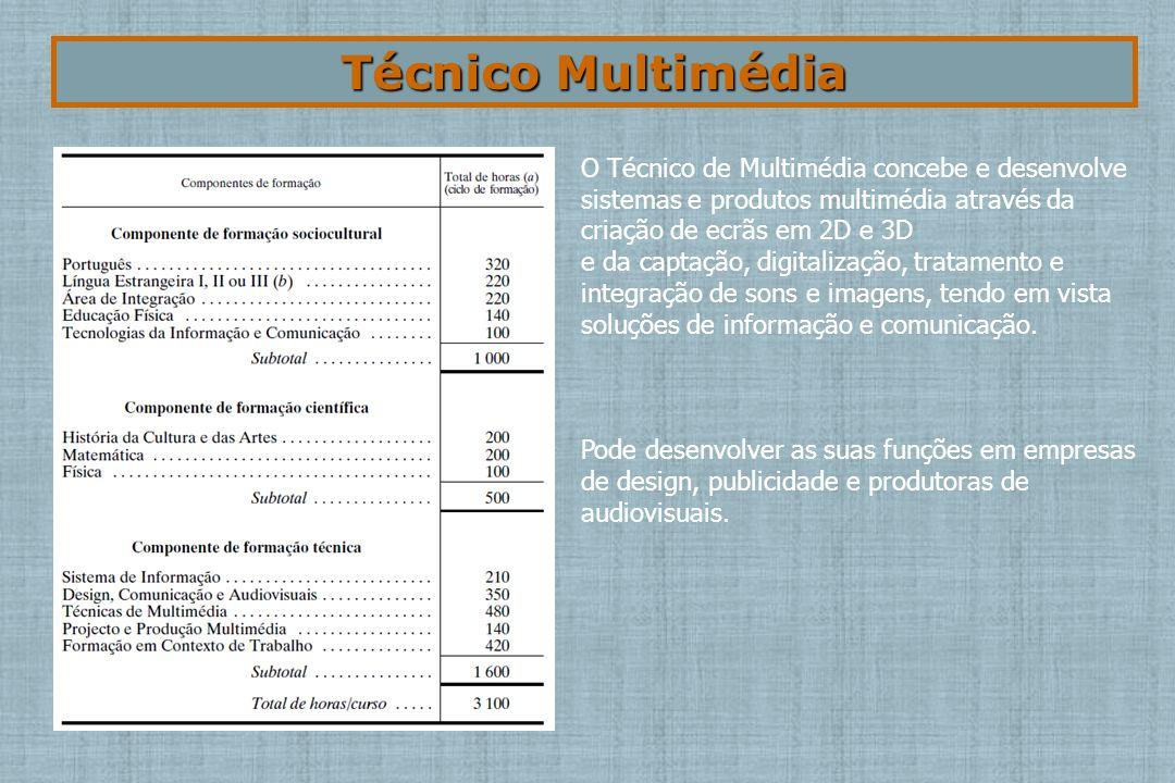 Técnico Multimédia O Técnico de Multimédia concebe e desenvolve sistemas e produtos multimédia através da criação de ecrãs em 2D e 3D e da captação, digitalização, tratamento e integração de sons e imagens, tendo em vista soluções de informação e comunicação.