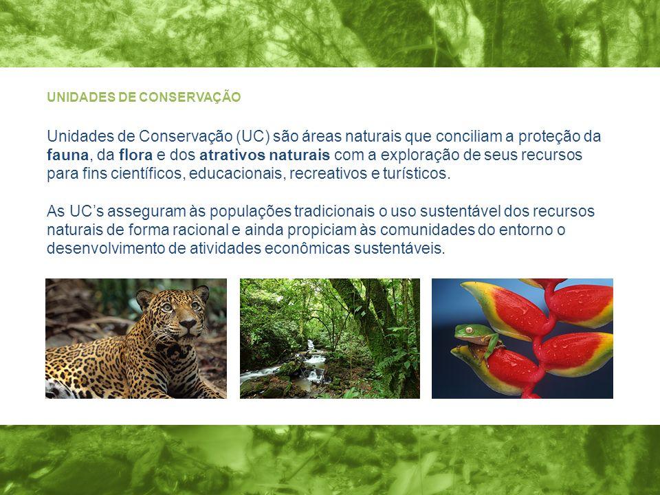 UNIDADES DE CONSERVAÇÃO Unidades de Conservação (UC) são áreas naturais que conciliam a proteção da fauna, da flora e dos atrativos naturais com a exploração de seus recursos para fins científicos, educacionais, recreativos e turísticos.