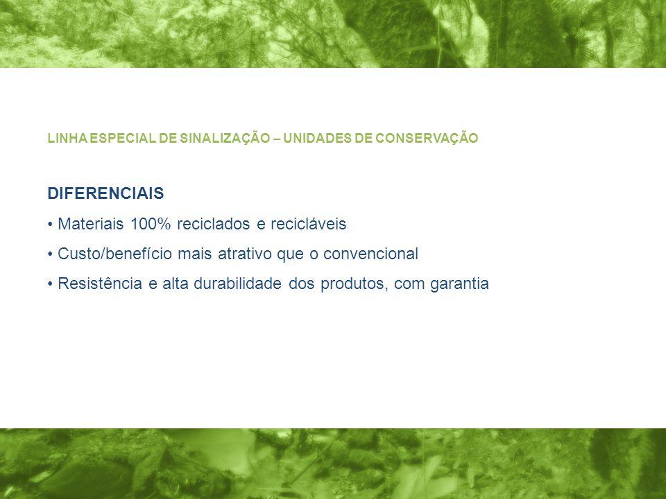 DIFERENCIAIS Materiais 100% reciclados e recicláveis Custo/benefício mais atrativo que o convencional Resistência e alta durabilidade dos produtos, com garantia LINHA ESPECIAL DE SINALIZAÇÃO – UNIDADES DE CONSERVAÇÃO