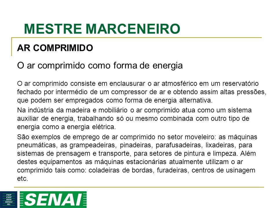 MESTRE MARCENEIRO O ar comprimido consiste em enclausurar o ar atmosférico em um reservatório fechado por intermédio de um compressor de ar e obtendo assim altas pressões, que podem ser empregados como forma de energia alternativa.