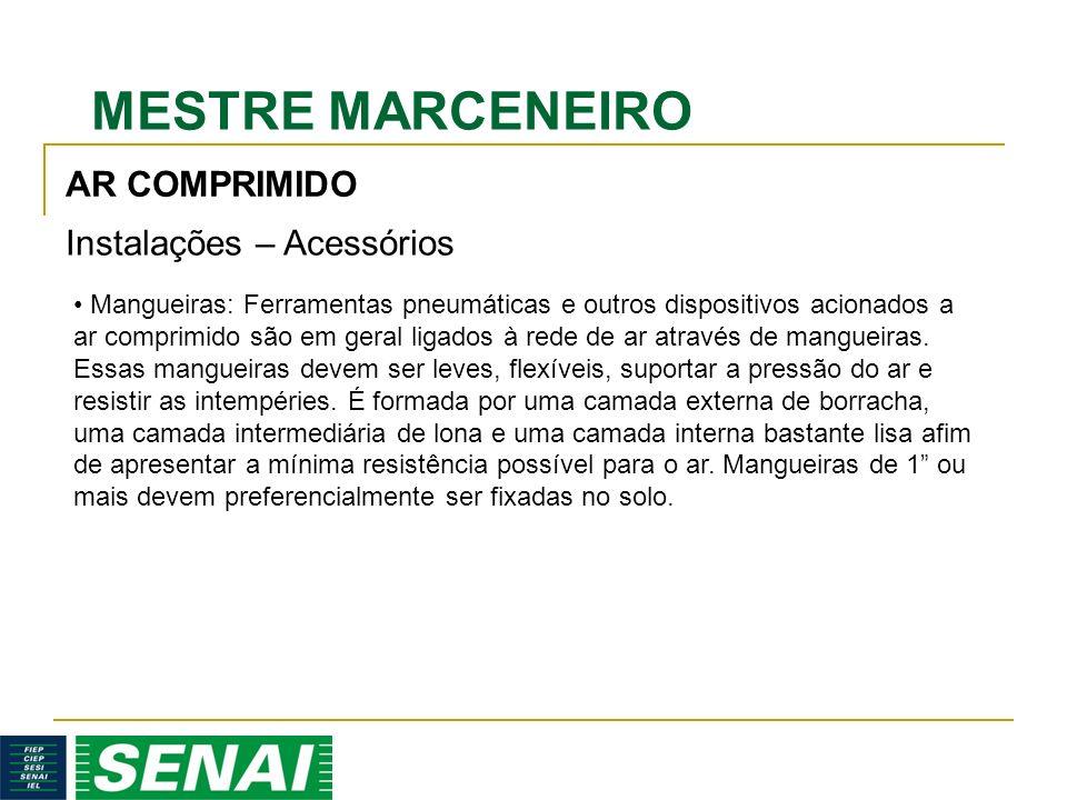 MESTRE MARCENEIRO AR COMPRIMIDO Instalações – Acessórios Mangueiras: Ferramentas pneumáticas e outros dispositivos acionados a ar comprimido são em geral ligados à rede de ar através de mangueiras.