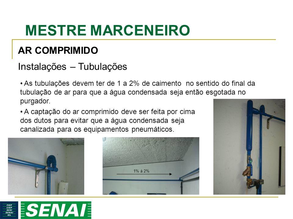 MESTRE MARCENEIRO AR COMPRIMIDO Instalações – Tubulações As tubulações devem ter de 1 a 2% de caimento no sentido do final da tubulação de ar para que a água condensada seja então esgotada no purgador.