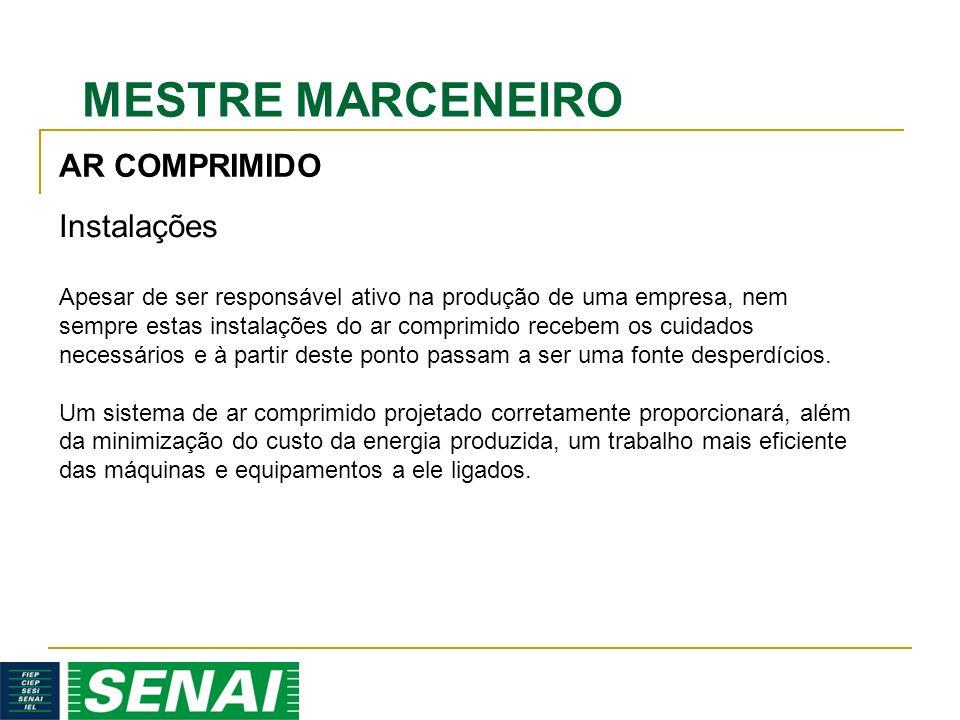 MESTRE MARCENEIRO Apesar de ser responsável ativo na produção de uma empresa, nem sempre estas instalações do ar comprimido recebem os cuidados necessários e à partir deste ponto passam a ser uma fonte desperdícios.