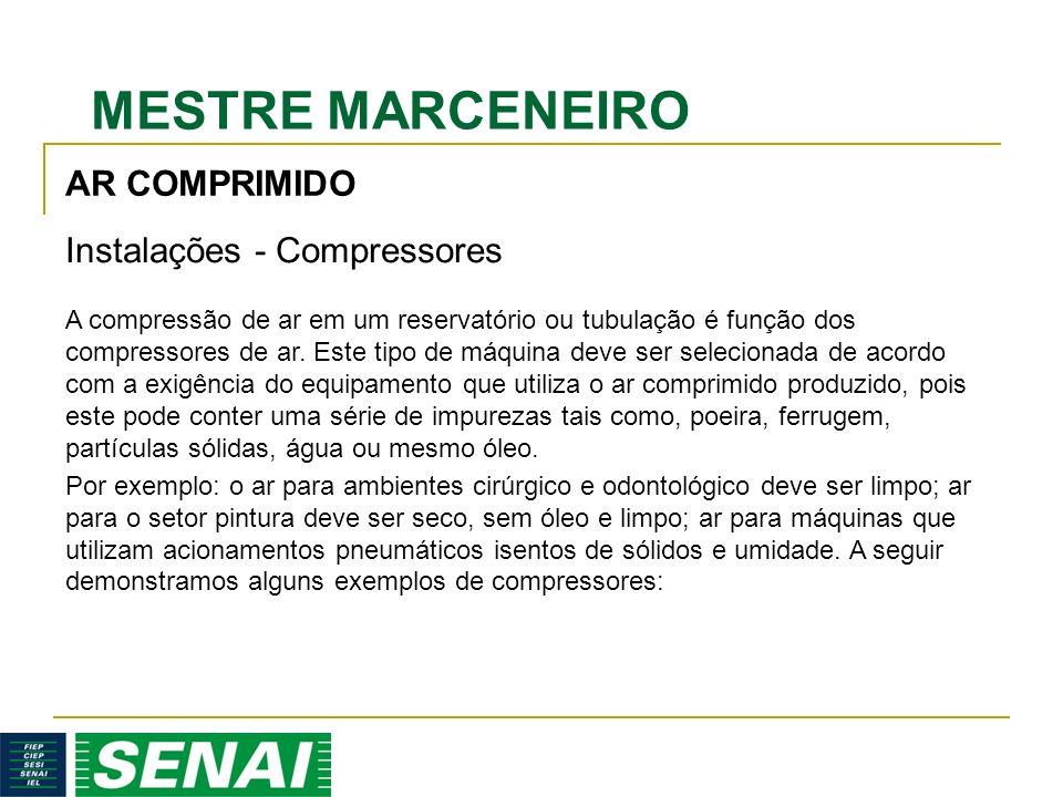MESTRE MARCENEIRO AR COMPRIMIDO Instalações - Compressores A compressão de ar em um reservatório ou tubulação é função dos compressores de ar.