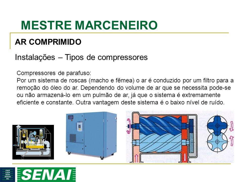 MESTRE MARCENEIRO AR COMPRIMIDO Instalações – Tipos de compressores Compressores de parafuso: Por um sistema de roscas (macho e fêmea) o ar é conduzido por um filtro para a remoção do óleo do ar.
