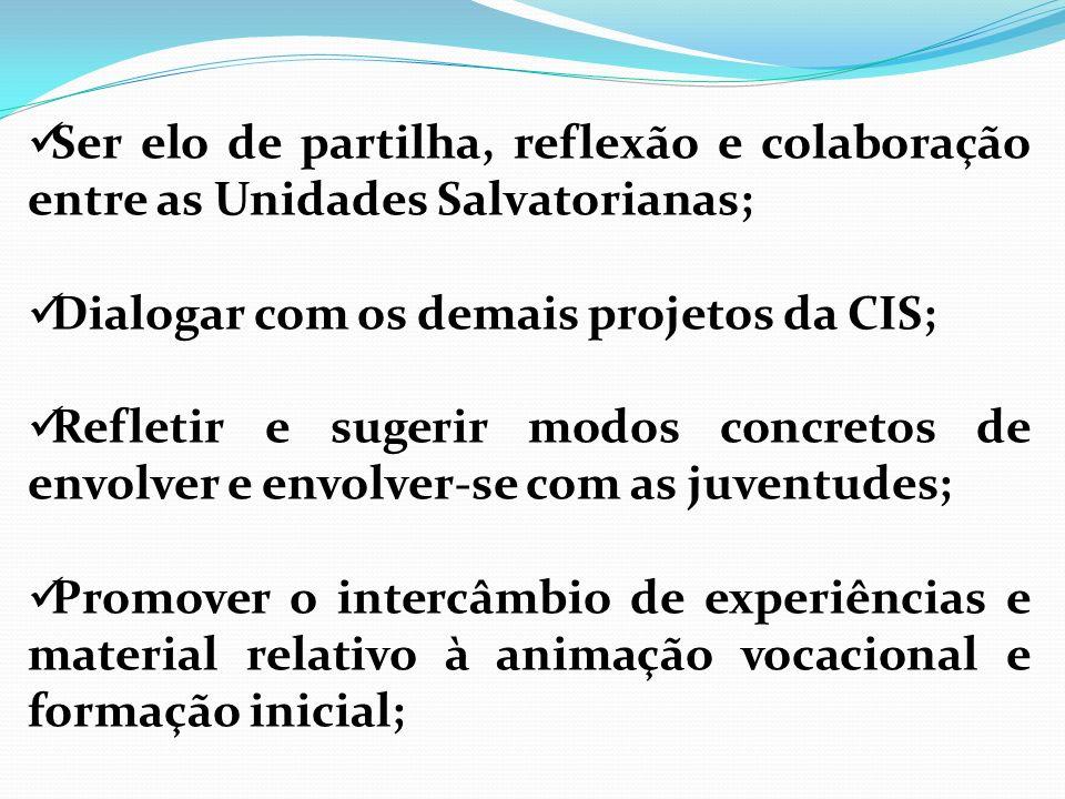 Ser elo de partilha, reflexão e colaboração entre as Unidades Salvatorianas; Dialogar com os demais projetos da CIS; Refletir e sugerir modos concreto