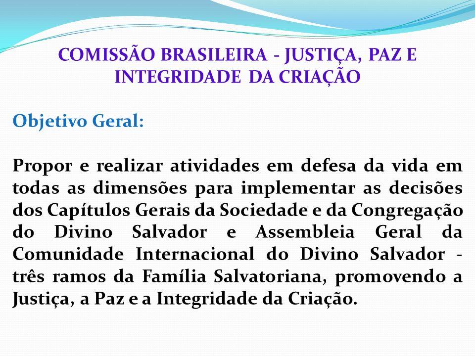 COMISSÃO BRASILEIRA - JUSTIÇA, PAZ E INTEGRIDADE DA CRIAÇÃO Objetivo Geral: Propor e realizar atividades em defesa da vida em todas as dimensões para