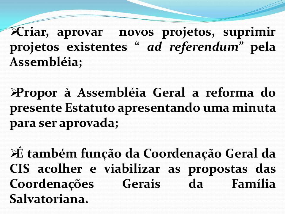 Criar, aprovar novos projetos, suprimir projetos existentes ad referendum pela Assembléia; Propor à Assembléia Geral a reforma do presente Estatuto ap